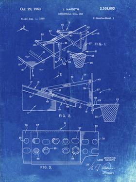PP454-Faded Blueprint Basketball Adjustable Goal 1962 Patent Poster by Cole Borders