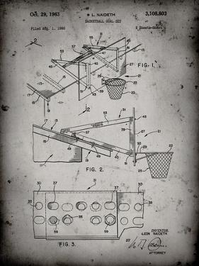 PP454-Faded Grey Basketball Adjustable Goal 1962 Patent Poster by Cole Borders