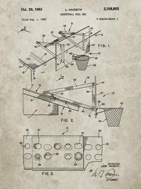 PP454-Sandstone Basketball Adjustable Goal 1962 Patent Poster by Cole Borders