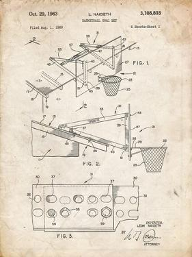 PP454-Vintage Parchment Basketball Adjustable Goal 1962 Patent Poster by Cole Borders
