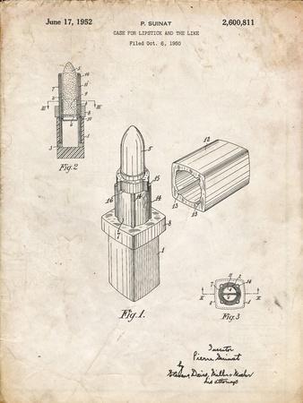 PP460-Vintage Parchment Chanel Lipstick Patent Poster