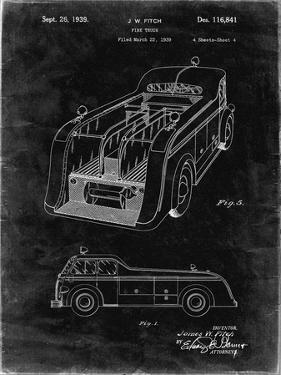 PP462-Black Grunge Firetruck 1939 Two Image Patent Poster by Cole Borders