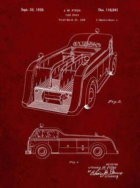 PP462-Burgundy Firetruck 1939 Two Image Patent Poster by Cole Borders