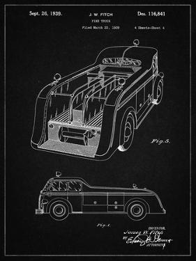 PP462-Vintage Black Firetruck 1939 Two Image Patent Poster by Cole Borders