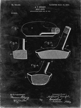 PP475-Black Grunge Antique Golf Putter 1903 Patent Poster by Cole Borders