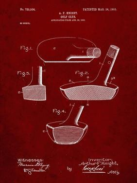 PP475-Burgundy Antique Golf Putter 1903 Patent Poster by Cole Borders