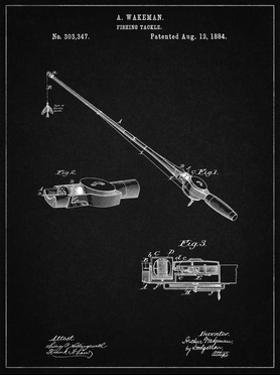 PP490-Vintage Black Fishing Rod and Reel 1884 Patent Poster by Cole Borders