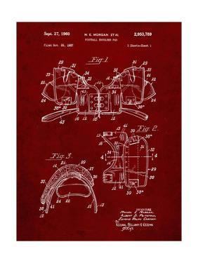 PP504-Burgundy Vintage Football Shoulder Pads Patent Poster by Cole Borders