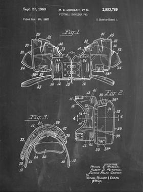 PP504-Chalkboard Vintage Football Shoulder Pads Patent Poster by Cole Borders