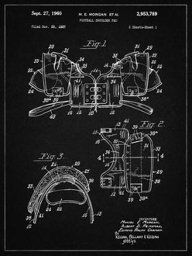 PP504-Vintage Black Vintage Football Shoulder Pads Patent Poster by Cole Borders