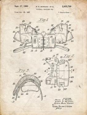 PP504-Vintage Parchment Vintage Football Shoulder Pads Patent Poster by Cole Borders