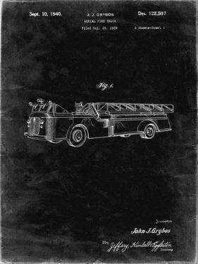 PP506-Black Grunge Firetruck 1940 Patent Poster by Cole Borders