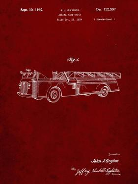 PP506-Burgundy Firetruck 1940 Patent Poster by Cole Borders