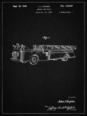 PP506-Vintage Black Firetruck 1940 Patent Poster by Cole Borders