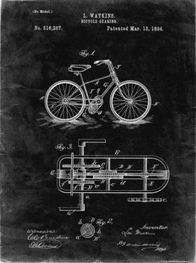 PP51-Black Grunge Bicycle Gearing 1894 Patent Poster by Cole Borders