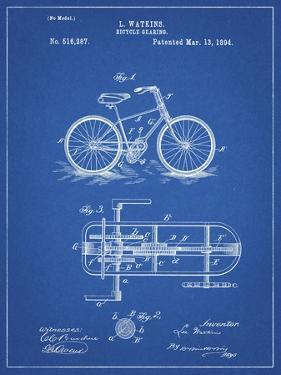 PP51-Blueprint Bicycle Gearing 1894 Patent Poster by Cole Borders