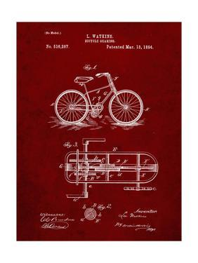 PP51-Burgundy Bicycle Gearing 1894 Patent Poster by Cole Borders