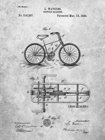PP51-Slate Bicycle Gearing 1894 Patent Poster by Cole Borders