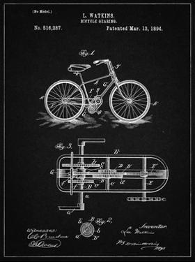 PP51-Vintage Black Bicycle Gearing 1894 Patent Poster by Cole Borders