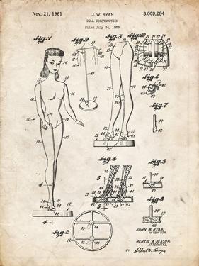 PP512-Vintage Parchment Barbie Doll Original Patent Poster by Cole Borders