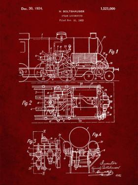 PP516-Burgundy Steam Train Locomotive Patent Poster by Cole Borders