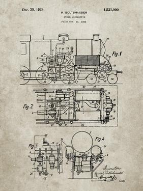 PP516-Sandstone Steam Train Locomotive Patent Poster by Cole Borders