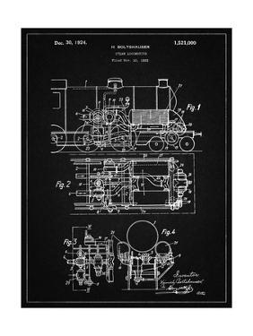 PP516-Vintage Black Steam Train Locomotive Patent Poster by Cole Borders