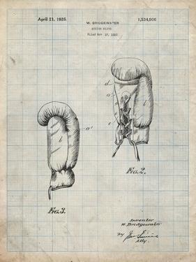 PP517-Antique Grid Parchment Boxing Glove 1925 Patent Poster by Cole Borders