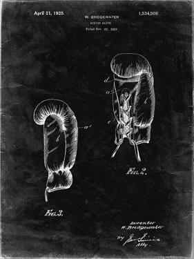 PP517-Black Grunge Boxing Glove 1925 Patent Poster by Cole Borders