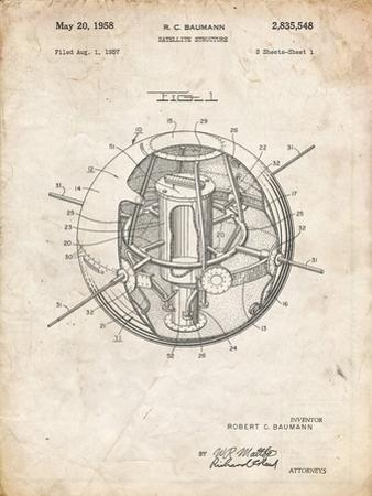 PP52-Vintage Parchment Earth Satellite Patent Poster by Cole Borders