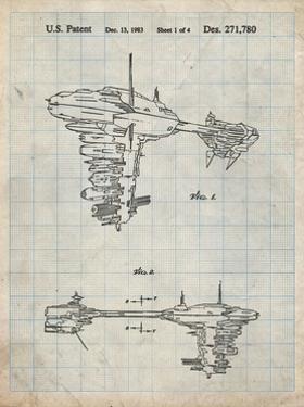 PP529-Antique Grid Parchment Star Wars Redemption Ship Patent Poster by Cole Borders