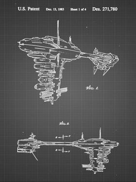 PP529-Black Grid Star Wars Redemption Ship Patent Poster by Cole Borders