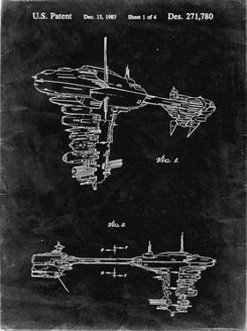 PP529-Black Grunge Star Wars Redemption Ship Patent Poster by Cole Borders