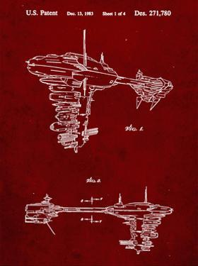 PP529-Burgundy Star Wars Redemption Ship Patent Poster by Cole Borders