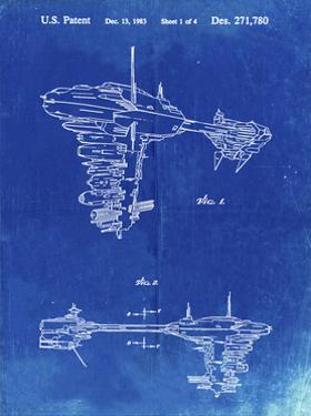 PP529-Faded Blueprint Star Wars Redemption Ship Patent Poster by Cole Borders