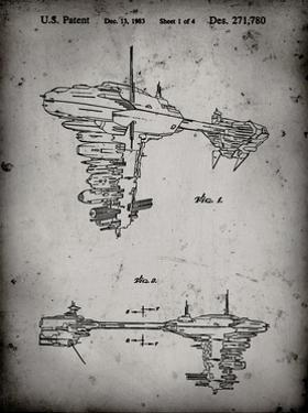 PP529-Faded Grey Star Wars Redemption Ship Patent Poster by Cole Borders