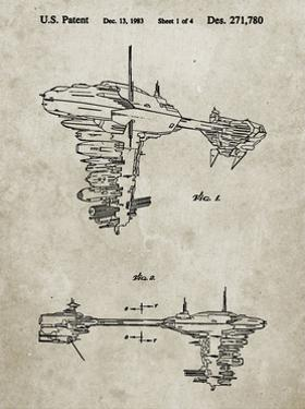 PP529-Sandstone Star Wars Redemption Ship Patent Poster by Cole Borders