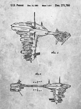 PP529-Slate Star Wars Redemption Ship Patent Poster by Cole Borders