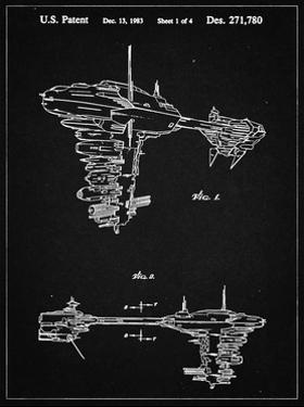 PP529-Vintage Black Star Wars Redemption Ship Patent Poster by Cole Borders