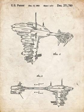 PP529-Vintage Parchment Star Wars Redemption Ship Patent Poster by Cole Borders