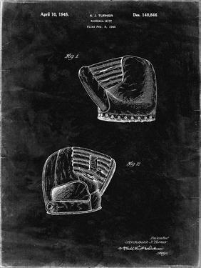 PP538-Black Grunge A.J. Turner Baseball Mitt Patent Poster by Cole Borders