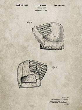 PP538-Sandstone A.J. Turner Baseball Mitt Patent Poster by Cole Borders