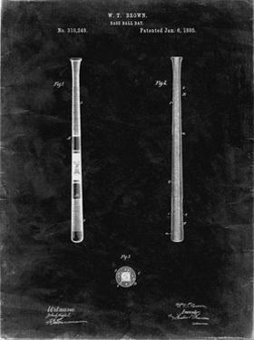 PP539-Black Grunge Antique Baseball Bat 1885 Patent Poster by Cole Borders
