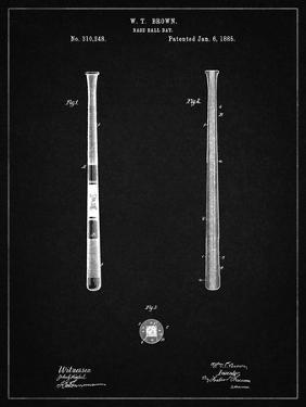 PP539-Vintage Black Antique Baseball Bat 1885 Patent Poster by Cole Borders