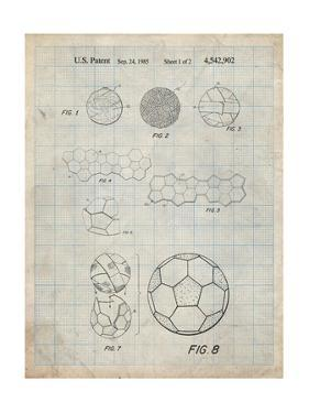 PP54-Antique Grid Parchment Soccer Ball 1985 Patent Poster by Cole Borders