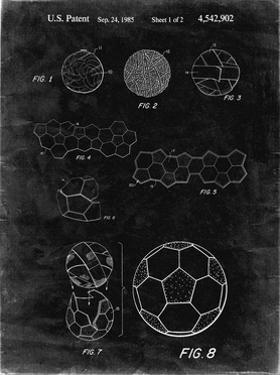 PP54-Black Grunge Soccer Ball 1985 Patent Poster by Cole Borders