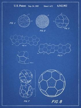 PP54-Blueprint Soccer Ball 1985 Patent Poster by Cole Borders