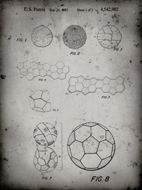 PP54-Faded Grey Soccer Ball 1985 Patent Poster by Cole Borders