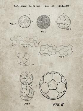 PP54-Sandstone Soccer Ball 1985 Patent Poster by Cole Borders