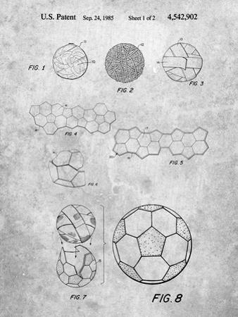 PP54-Slate Soccer Ball 1985 Patent Poster by Cole Borders